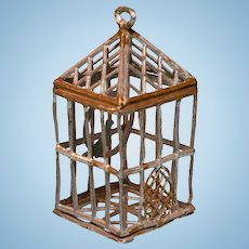 "German Gilt Soft Metal Dollhouse Birdcage 1920 – 1930s Small 1"" Scale"