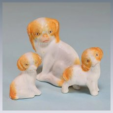 """Set of 3 Antique Miniature German Bisque Dogs King Charles Cavalier Spaniels Early 1900s Large 1"""" Scale"""