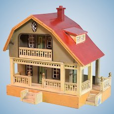 """Antique Red Roof Dollhouse by Gottschalk 2 Stories 1923 Small 1"""" Scale"""