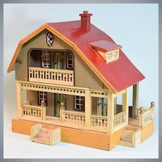 """Gottschalk Red Roof Dollhouse 2 Stories 1923 Small 1"""" Scale"""