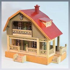 """2 Story Gottschalk Red Roof Dollhouse 1923 Small 1"""" Scale"""