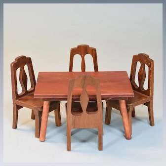 """5 Pc. Wooden Dining Room Furniture by Hall's and Strombecker Mid Century 1"""" Scale"""