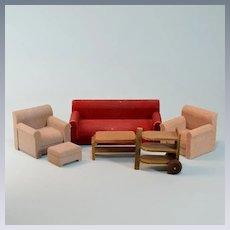 "6 Pc. German Dollhouse Living Room Set Mid Century Large 1"" Scale"