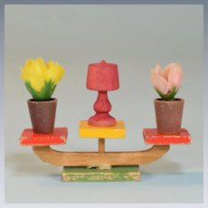 """Colorful Wooden Plant Stand with Plants Mid Century 1"""" Scale"""