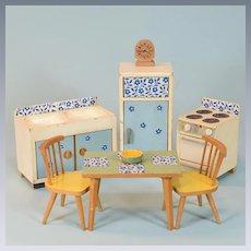 "6 Pc German Dollhouse Wooden Kitchen Set Mid Century Large 1"" Scale"