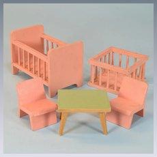 "5 Pc. German Dollhouse Nursery Set Mid Century 1"" Scale"