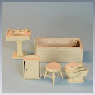 "5 Pc. Mid Century Wooden Dollhouse Bathroom Set Japan Large 1"" Scale"