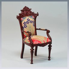 "Vintage Bespaq Dollhouse Arm Chair Renaissance Revival Style 1"" Scale"