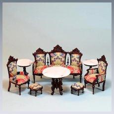 """Rare 8 Pc. Vintage Bespaq Dollhouse Parlor Suite Renaissance Revival Style 1"""" Scale"""