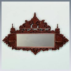 """Vintage Artisan Hand-Carved Dollhouse Mirror 1"""" Scale"""