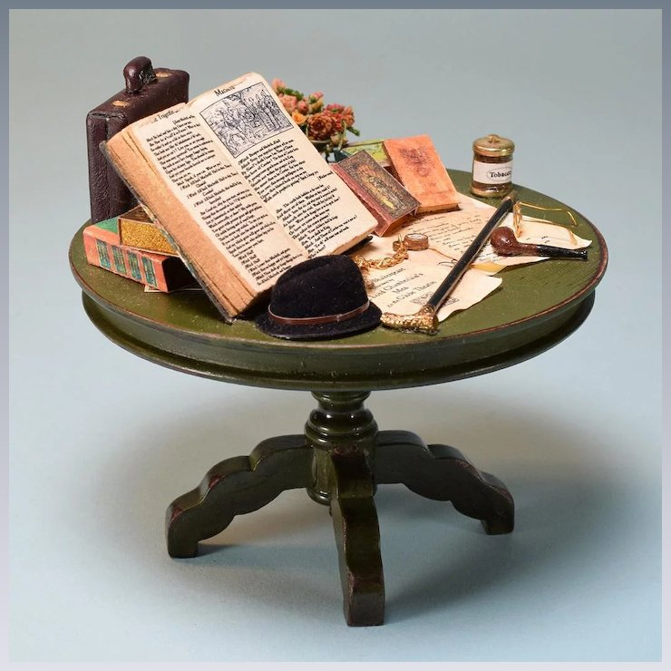 Vintage Dollhouse Table With Books Men S Accessories By Taylor