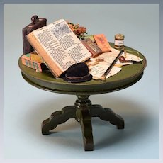 """Vintage Dollhouse Table with Books & Men's Accessories by Taylor Jade 1"""" Scale"""