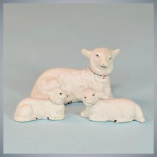 Antique Miniature Hertwig German Bisque Lambs Set of 3 Early 1900s