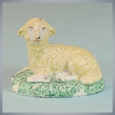 Miniature Staffordshire Pottery Sheep Figurine Early 1800s