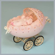 "Faberge' Style Goose Egg Baby Carriage by Patricia Metcalf 1987 Large 1"" Scale"