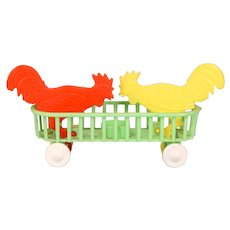 1950s Plastic Pecking Roosters Push Toy by Luss Bert, Milano Italy
