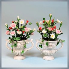 """Pair of Dollhouse Victorian Floral Bouquets in Urns 1"""" Scale"""