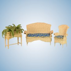 "Vintage Dollhouse Wicker Patio Furniture Set of 3 1"" Scale"