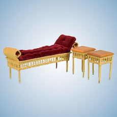 """Vintage Dollhouse Signed Wicker Chaise Lounge and Pair of End Tables 1"""" Scale"""