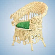 "Vintage Dollhouse Victorian Style White Wicker Chair Signed Large 1"" Scale"