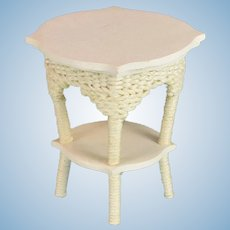 "Vintage Dollhouse Hand-Made White Wicker Table Large 1"" Scale"