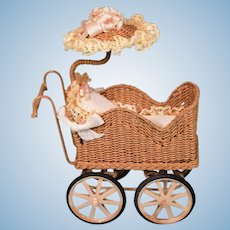 """Artisan Miniature Wicker Baby Carriage with Sunshade by Marcia Flomer 1996 1"""" Scale"""