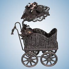 """Artisan Miniature Black Wicker Baby Buggy with Sunshade by Marcia Flomer 1996 1"""" Scale"""