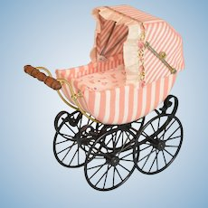 "Miniature Bodo Hennig Baby Carriage Pink & White Stripe Large 1"" Scale 1980s – 1990s"