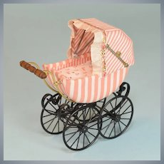 """Miniature Dollhouse Bodo Hennig Baby Carriage Pink & White Stripe Large 1"""" Scale 1980s – 1990s"""