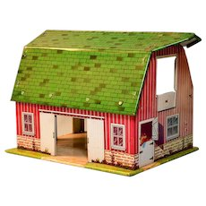 Miniature Marx Happi-Time Tin Litho Barn 1950s