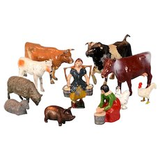 11 Vintage Miniature Cast Lead Farm Toys – Animals and Milk Maids by Britains and Others