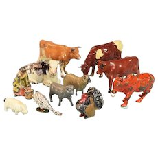 11 Vintage Miniature Cast Lead Farm Toys – Animals and Milk Maid by Britains, Lincoln Logs and Others