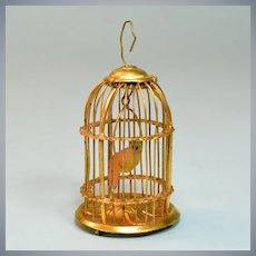 "Antique Dollhouse Ormolu Birdcage by Erhard & Son Late 1800s Large 1"" Scale"