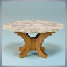 """Antique Dollhouse Marble Top Parlor Table by Schneegas Late 1800s Large 1"""" Scale"""