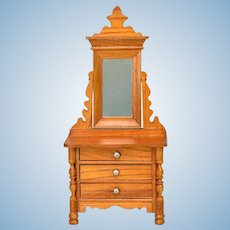"Antique German Schneegas Dollhouse Dresser with Swivel Mirror Late 1800s Large 1"" Scale"