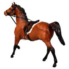 Vintage Breyer Classic Series Dark Chestnut Horse with Artisan Saddle, Bridle and Reins