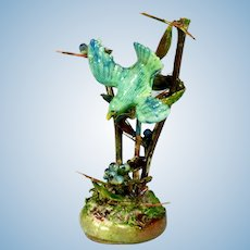 """Kay Lewis Miniature Bird in a Thorny Bush 1980s – 1990s 1"""" Scale"""