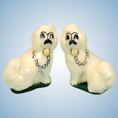 """Pair of Vintage White Porcelain Staffordshire Dogs 1"""" Scale"""