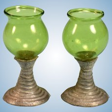 "Pair of German Dollhouse Green Hand-Blown Glass Goblets 1920s – 1930s Large 1"" Scale"