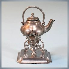 """Tynietoy Cast Metal Tea Pot & Stand by Gerlach Late 1800s Large 1"""" Scale"""