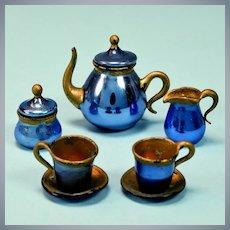 "Antique Dollhouse Blue Mercury Glass Tea Set Early 1900s 1"" Scale"