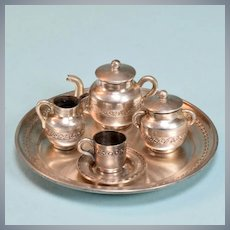 "8 Pc. Sterling Silver Tea Set Hallmarked 1"" Scale"