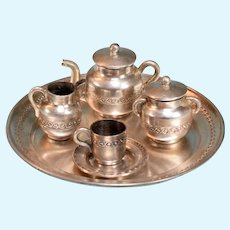 """8 Pc. Sterling Silver Tea Set Hallmarked 1"""" Scale"""