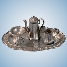 "5 Pc. Antique Dollhouse Soft Metal Coffee Set 1920s – 1930s 1"" Scale"