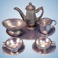 "8 Pc. Antique German Dollhouse Soft Metal Coffee Set 1920s – 1930s Small 1"" Scale"