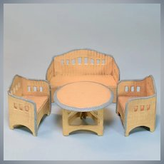 "Antique German Dollhouse Wicker Garden Furniture 4 Pc. Set by Korbi 1930s Small 1"" Scale"
