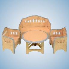 "Antique German Dollhouse Wicker Garden Furniture 4 Pc. Set by Korbi 1930s Small 1"" Scale"