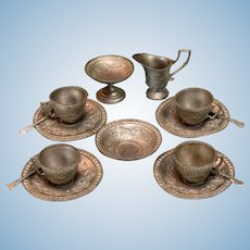 "15 Pc. Antique German Dollhouse Tea Set Soft Metal Early 1900s Large 1"" Scale"