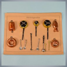 "Antique Miniature German Kitchen Utensils on Cardstock 1920s 1"" Scale"