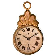 "Vintage Gilt Metal Dollhouse Wall Clock Small 1"" Scale"